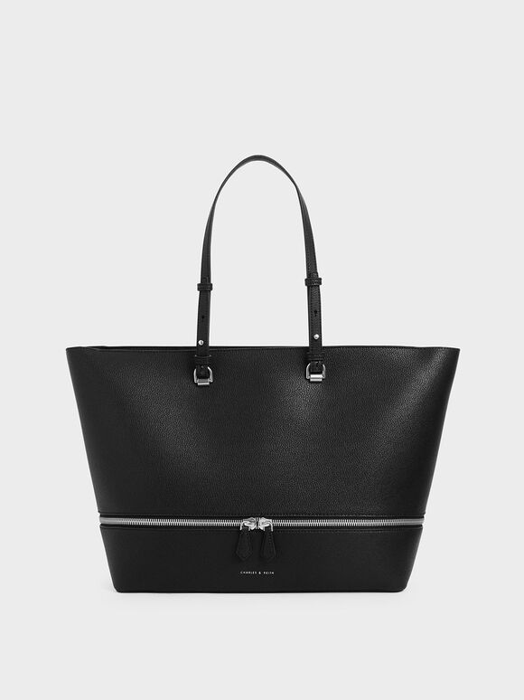 Two-Way Zip Large Tote, Black, hi-res