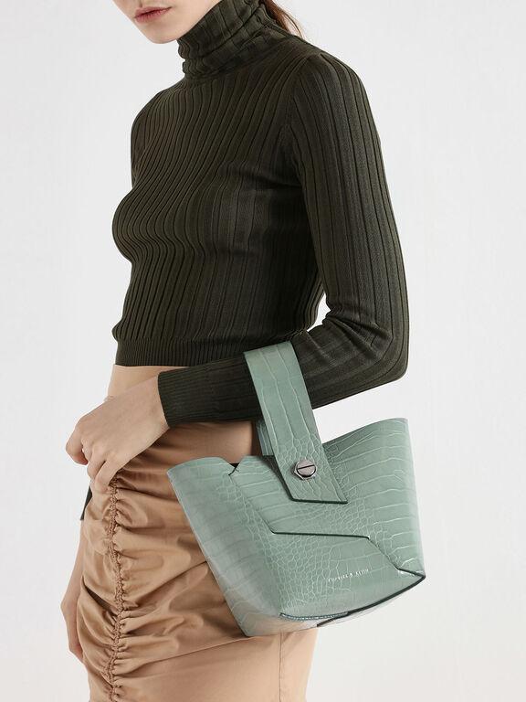 Croc-Effect Wristlet Handle Bucket Bag, Sage Green, hi-res
