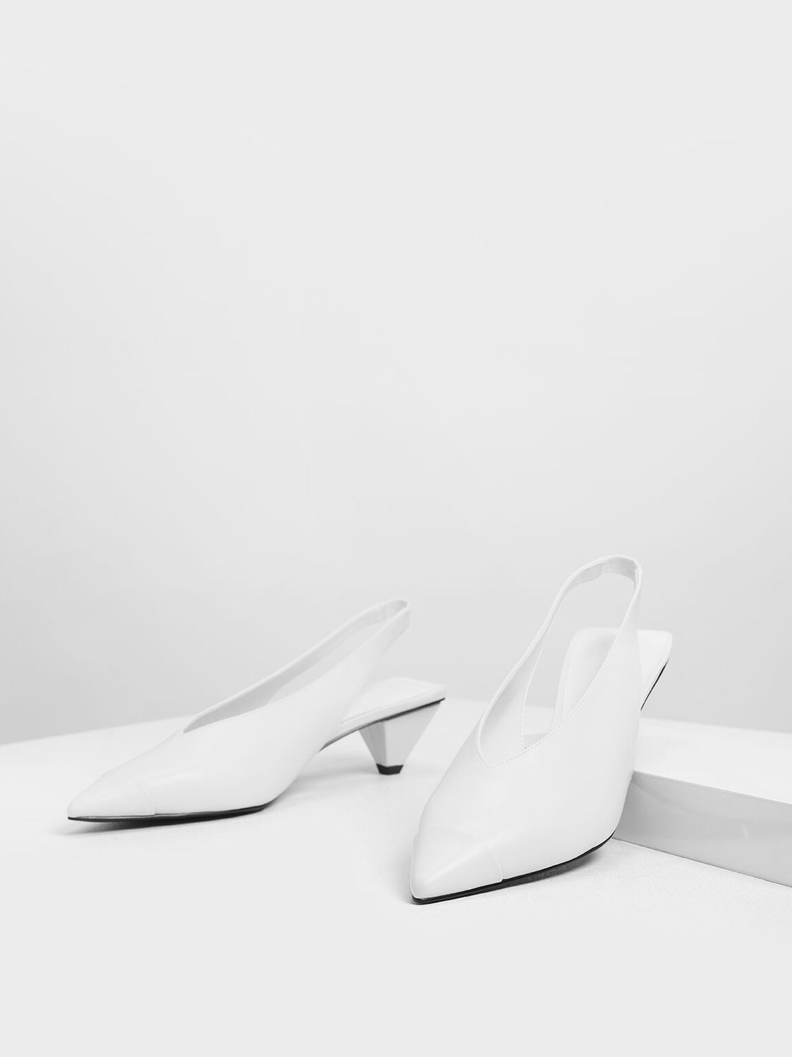 Cone Heel Slingback Pumps, White, hi-res