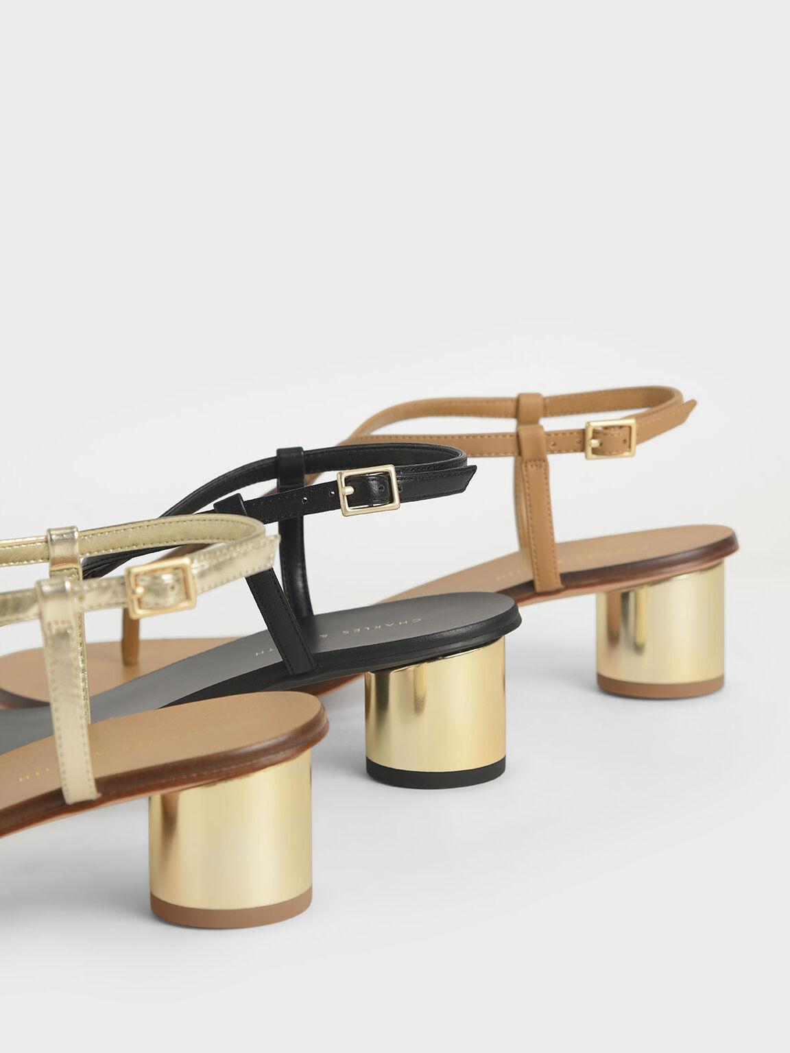 Chrome Heel Thong Sandals, Gold, hi-res