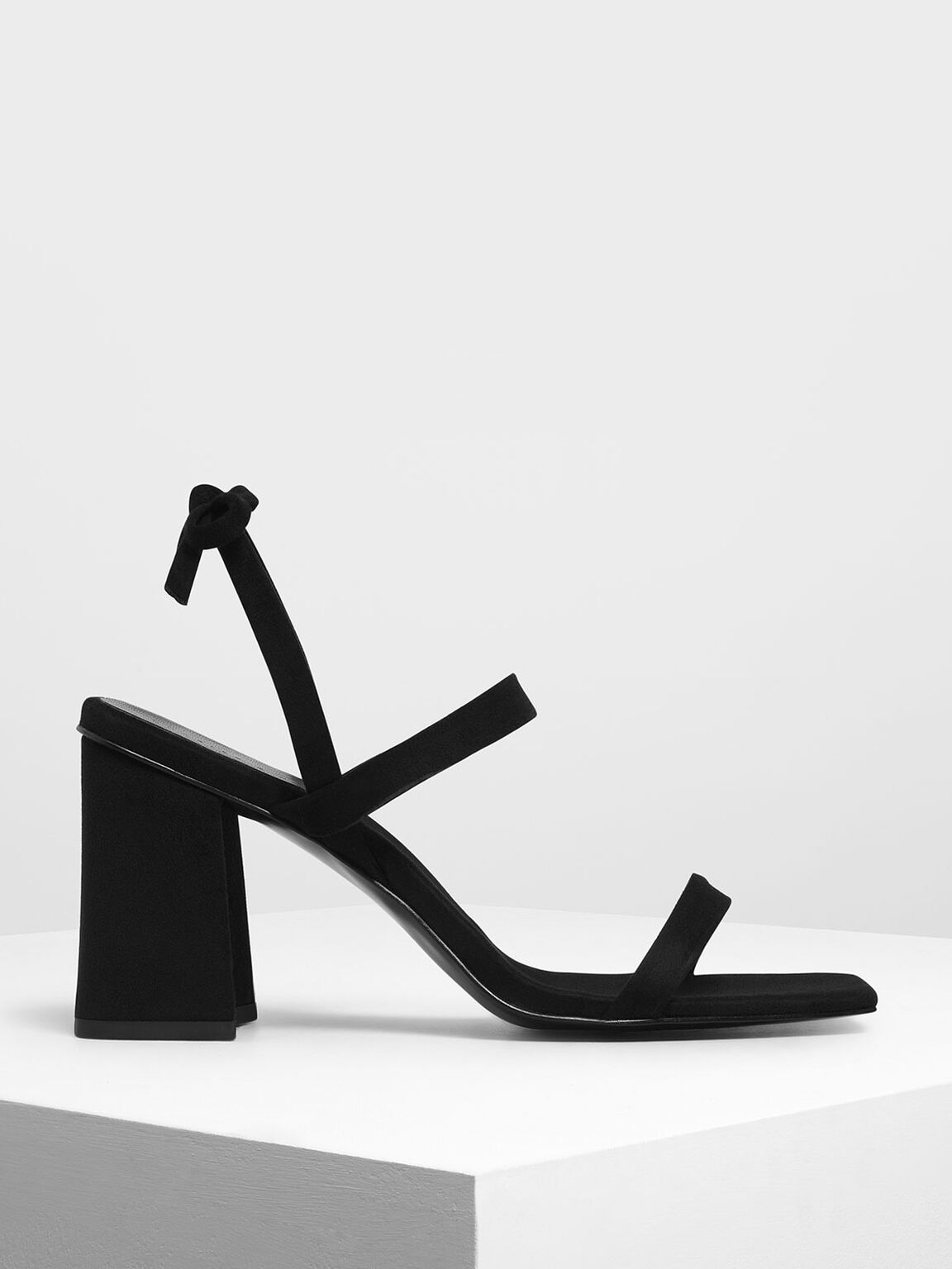 Bow Tie Strappy Sandals, Black, hi-res