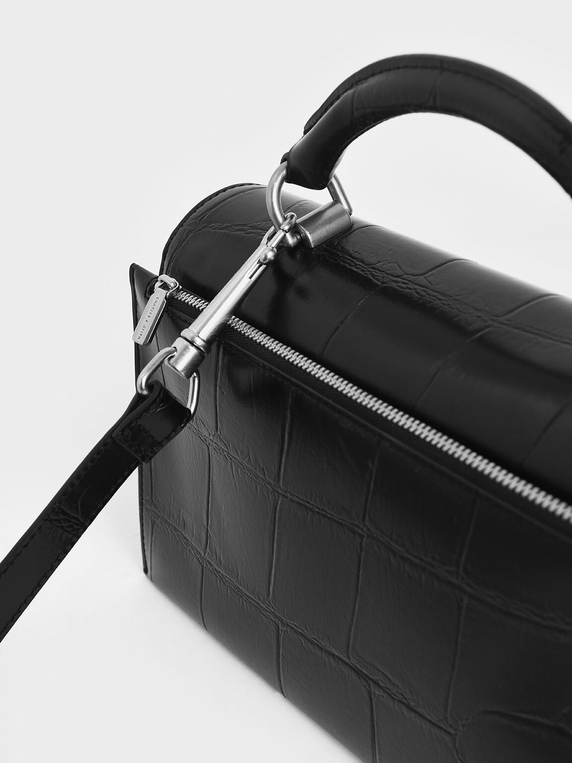 Croc-Effect Turn-Lock Top Handle Bag, Black, hi-res