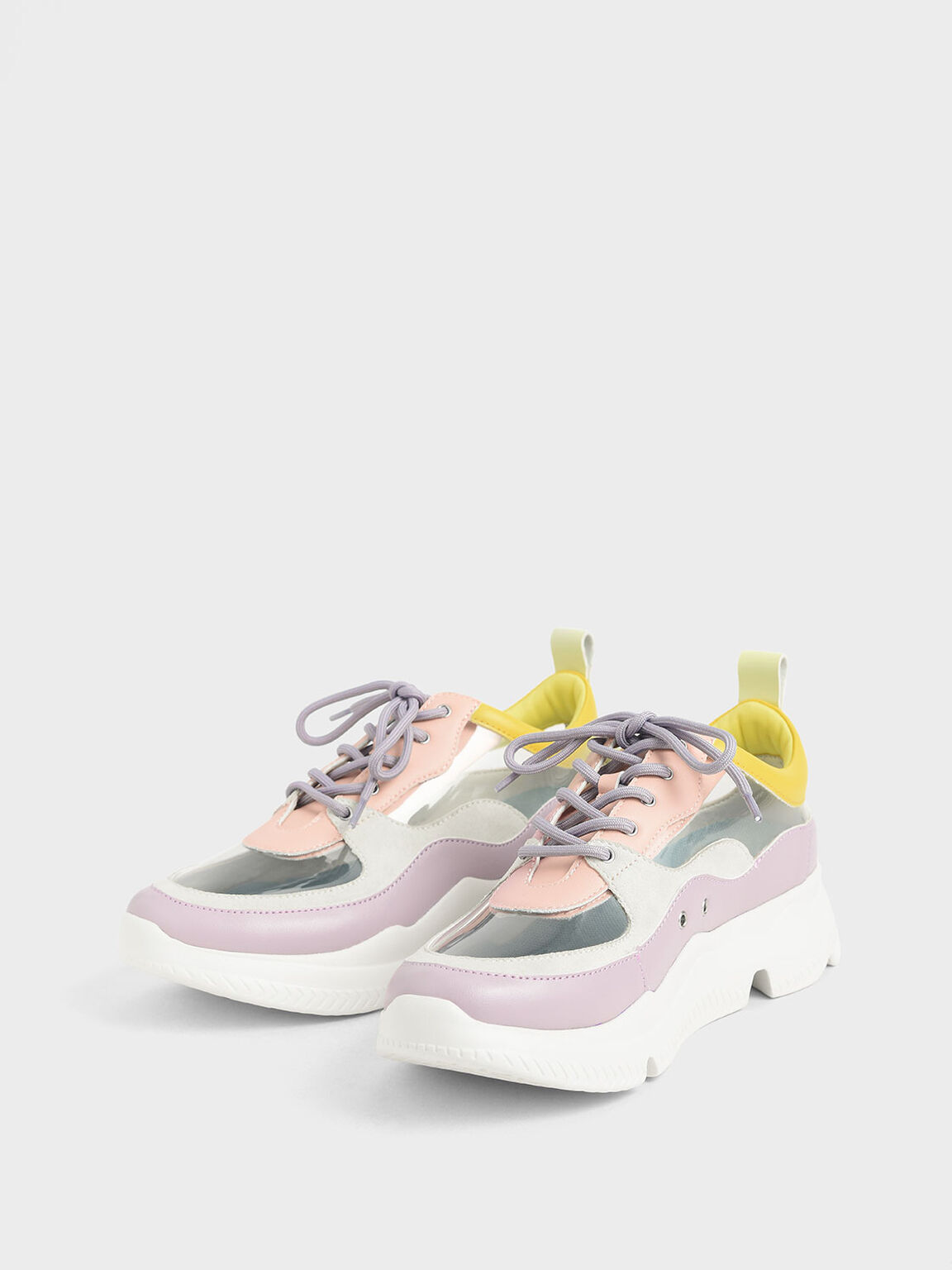 See-Through Chunky Sneakers, Lilac, hi-res