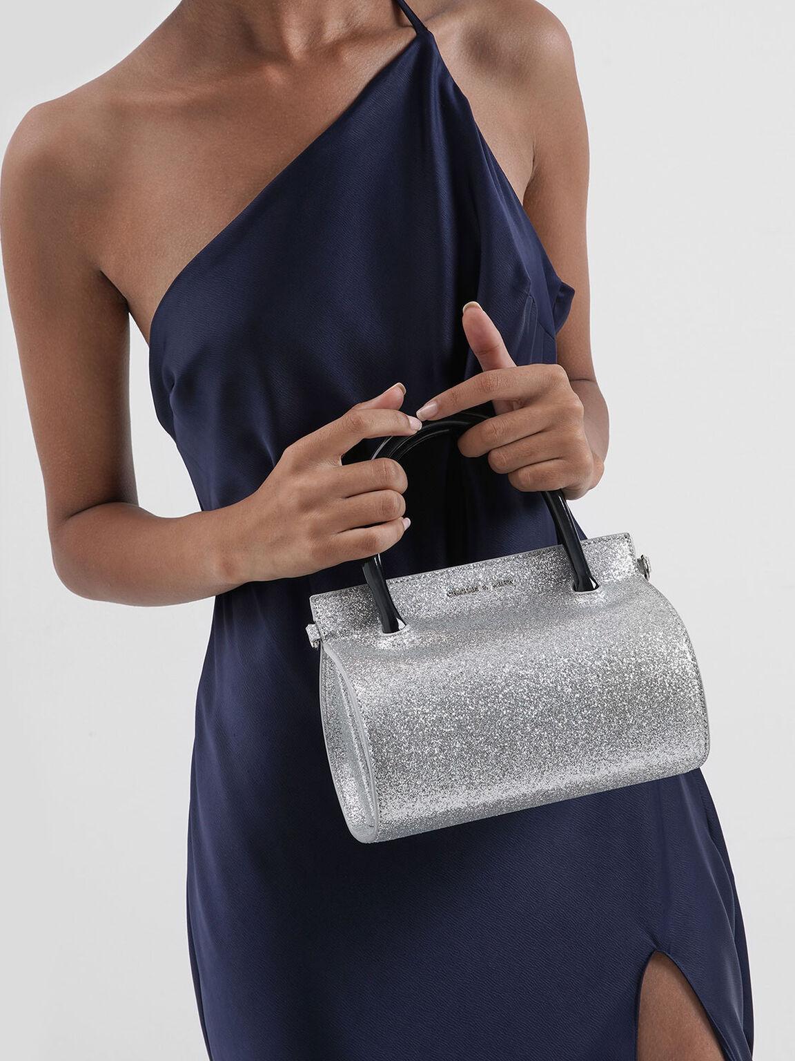 Glitter Structured Cylinder Bag, Silver, hi-res
