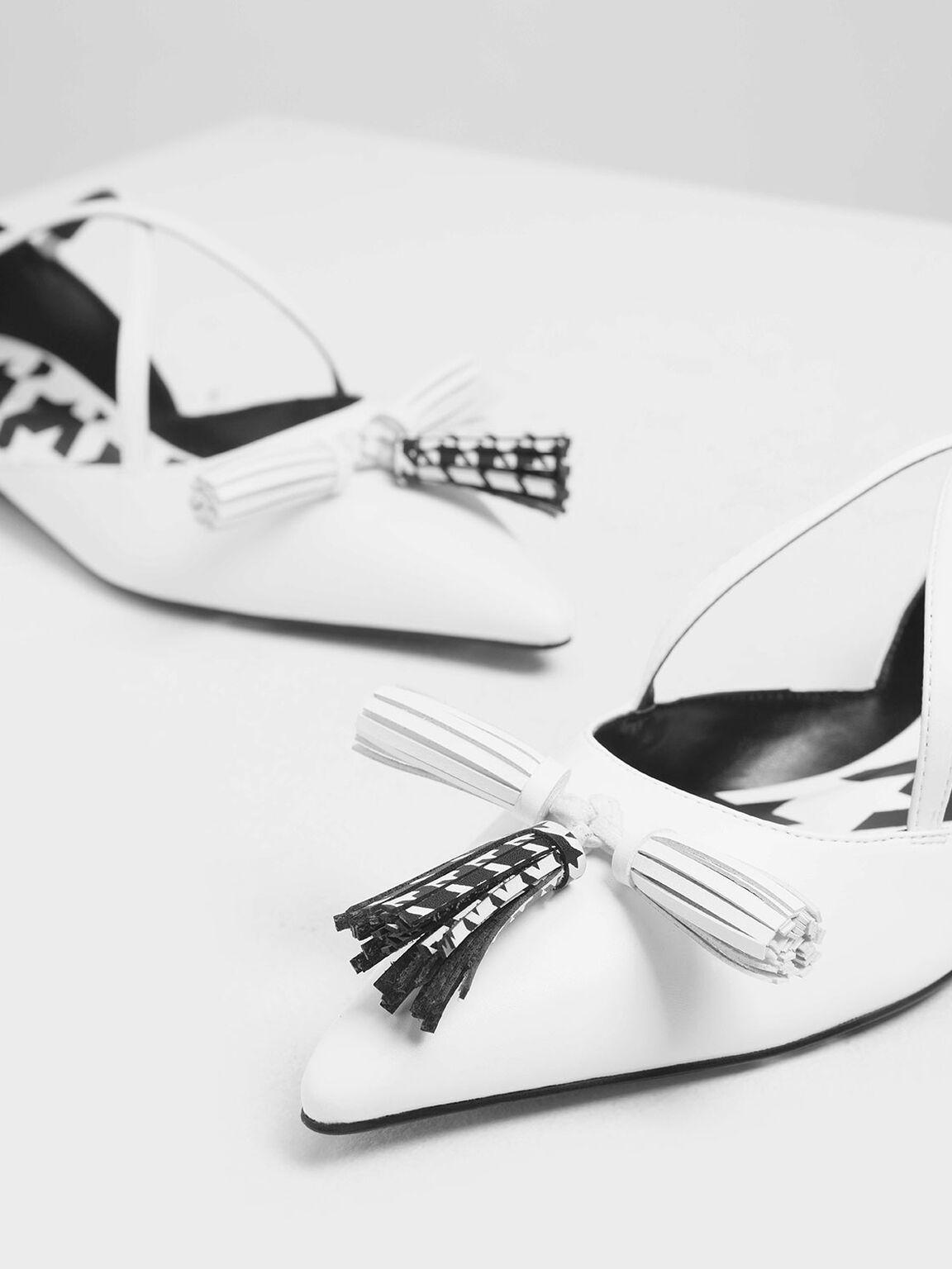 流蘇平底鞋, 白色, hi-res