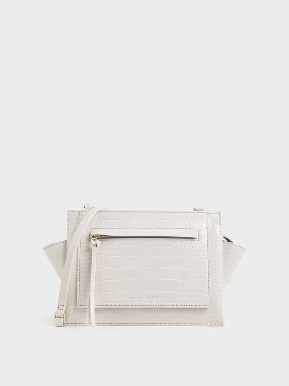 Croc-Effect Mini Trapeze Crossbody Bag, Cream, hi-res