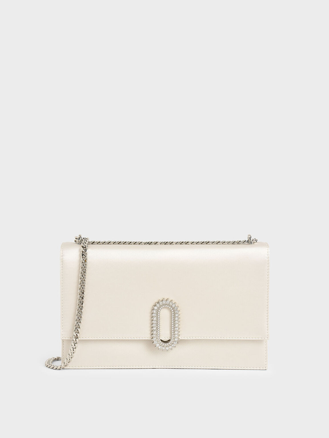 Wedding Collection: Embellished Buckle Satin Crossbody Bag, White, hi-res