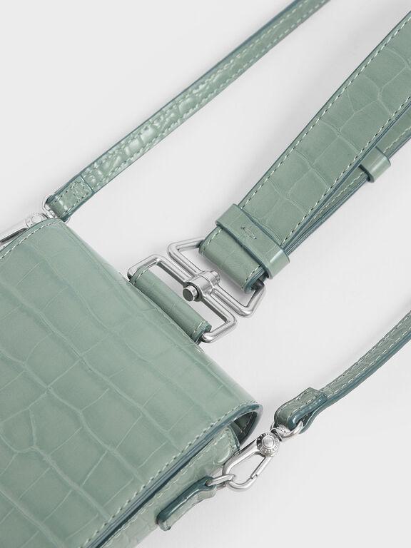 Croc-Effect Long Pouch, Sage Green
