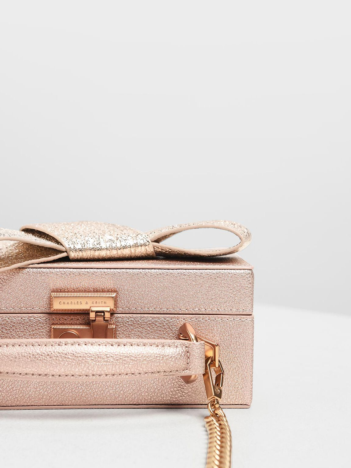 Metallic Ribbon Top Handle Bag, Rose Gold, hi-res