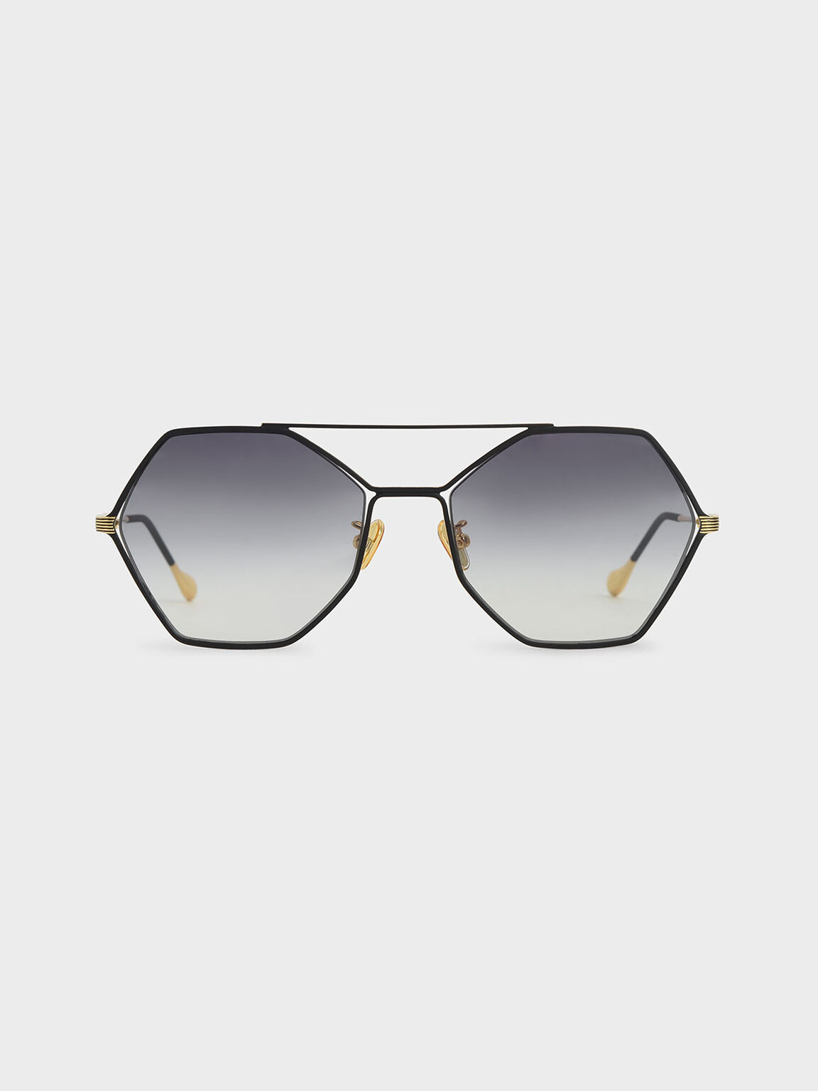 Gradient Tint Geometric Sunglasses, Black, hi-res