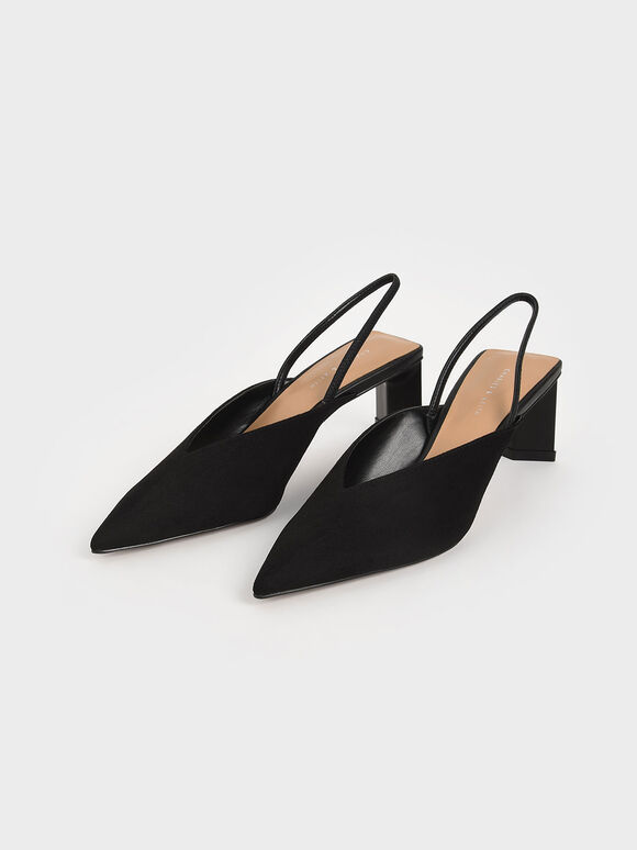 Textured Blade Heel Slingback Court Shoes, Black, hi-res