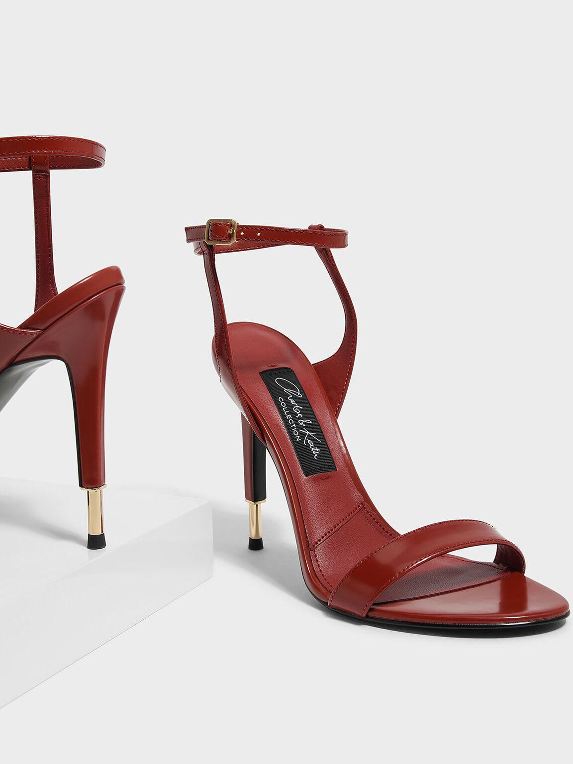 Stiletto Velvet Sandals, Red, hi-res
