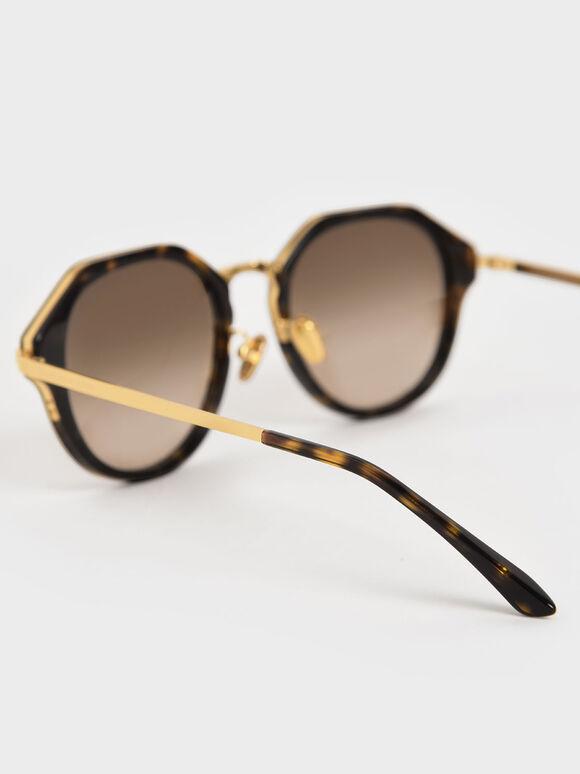 Geometric Tortoiseshell Sunglasses, T. Shell, hi-res