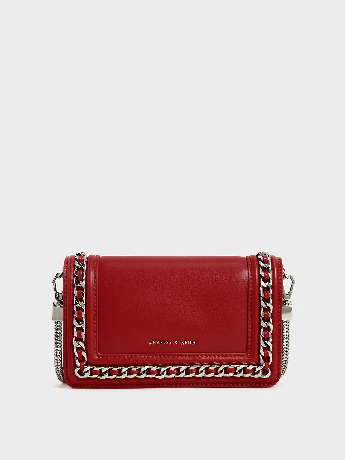 Chain-Trimmed Clutch, Red, hi-res