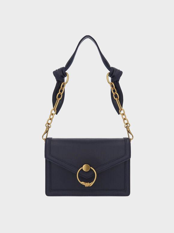 Ring Push-Lock Envelope Shoulder Bag, Navy, hi-res