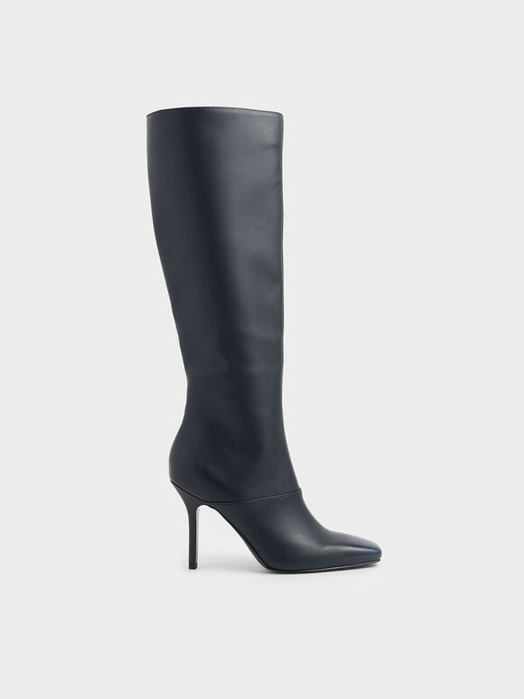Brushed-Effect Knee High Boots, Black, hi-res