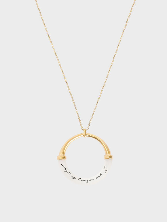 """Just Us Two, You And I"" Printed Pendant Necklace, Gold, hi-res"