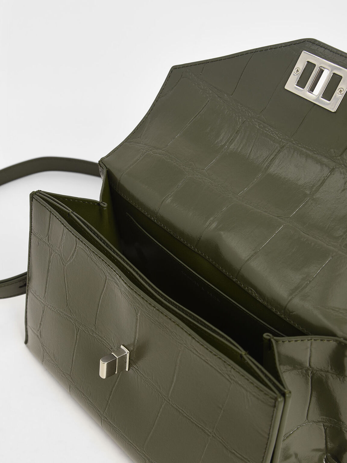 Croc-Effect Turn-Lock Top Handle Bag, Olive, hi-res