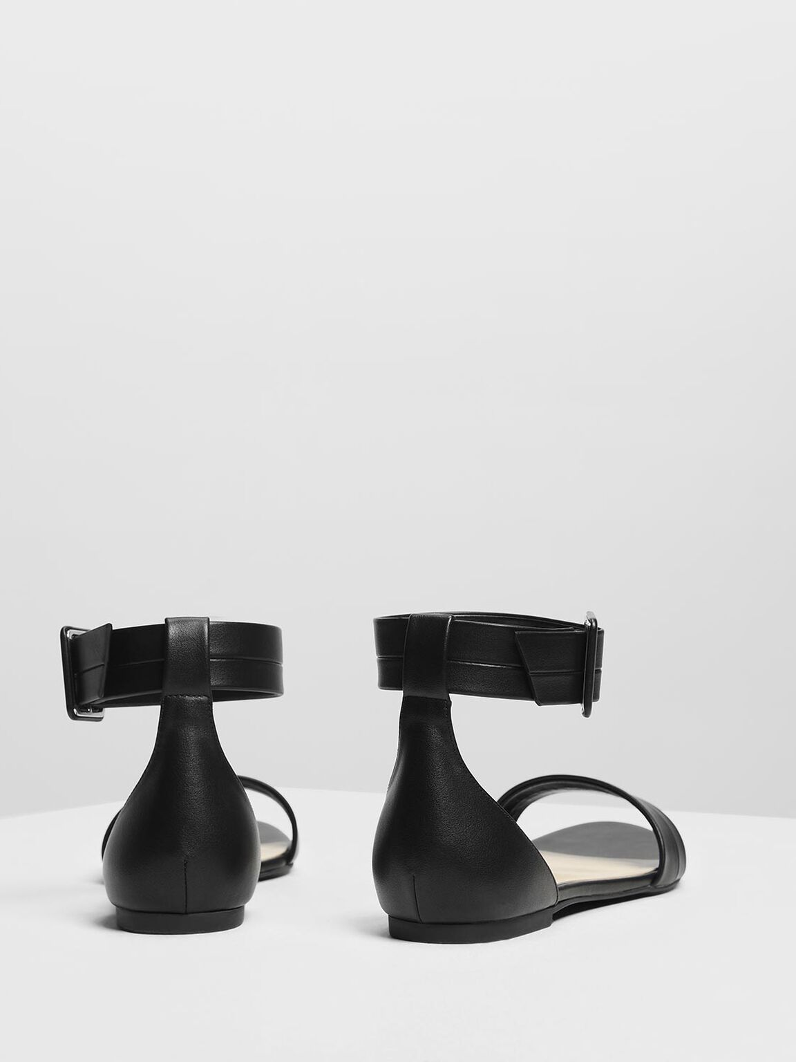 Open Toe Ankle Cuff Sandals, Black, hi-res