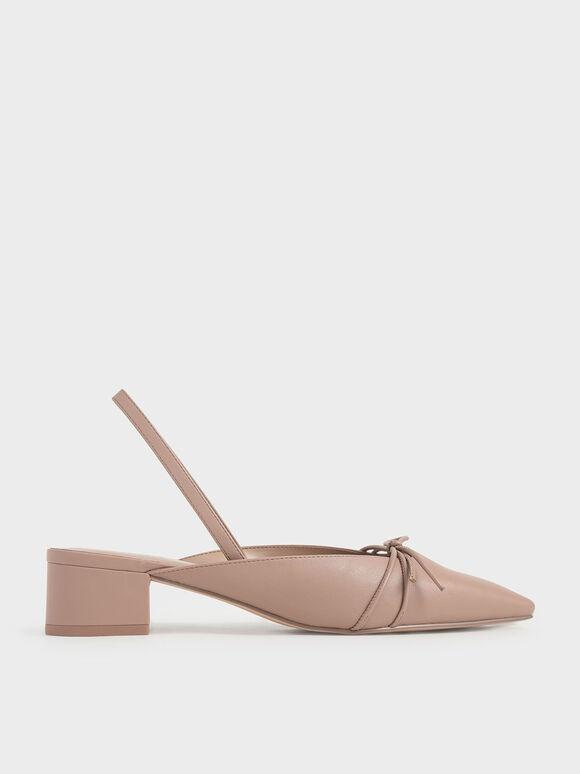 蝴蝶結粗跟鞋, 粉紅色, hi-res