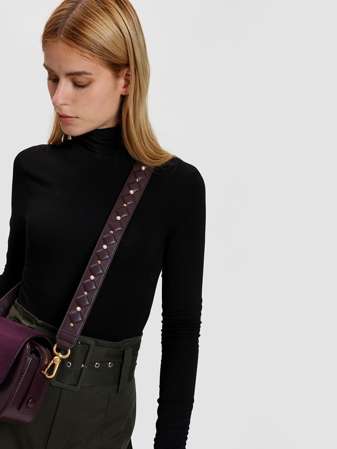 Embellished Quilted Bag Strap, Prune, hi-res