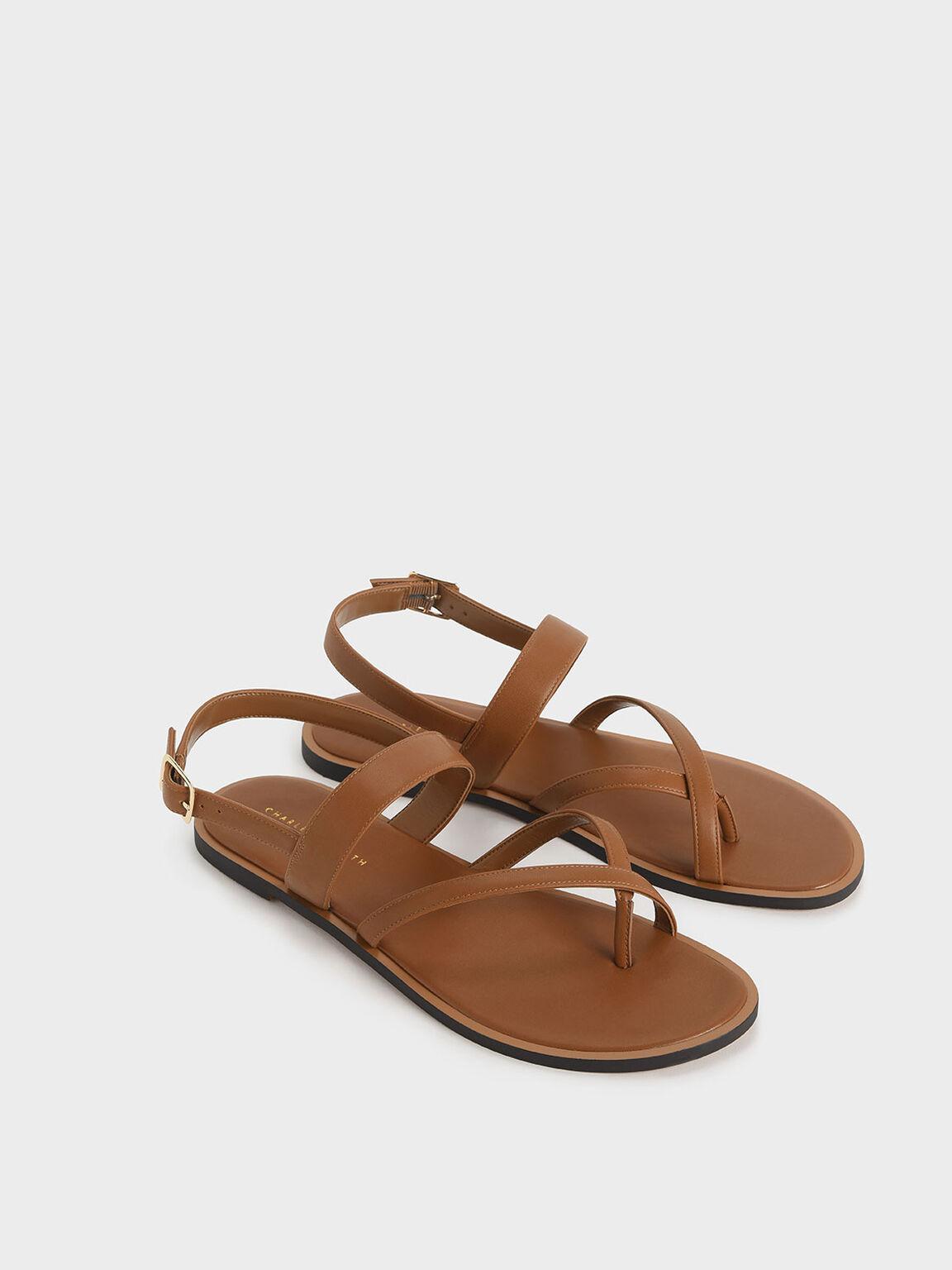夾腳平底涼鞋, 咖啡色, hi-res