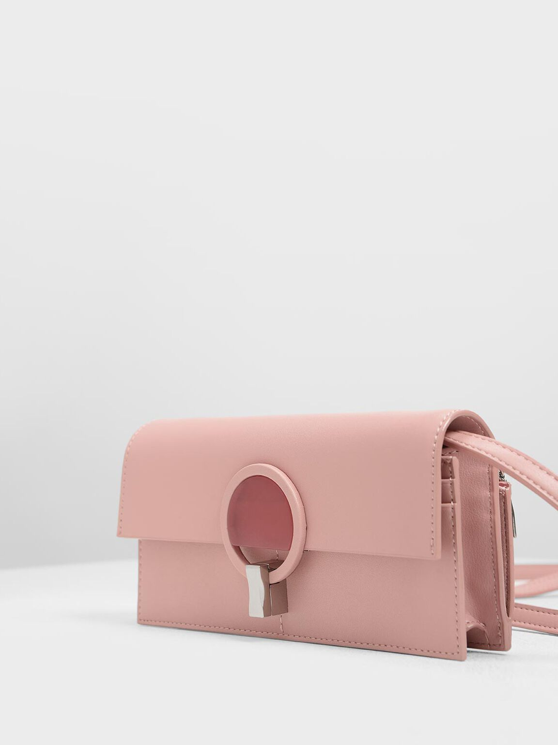Ring Turn Lock Wallet, Pink, hi-res