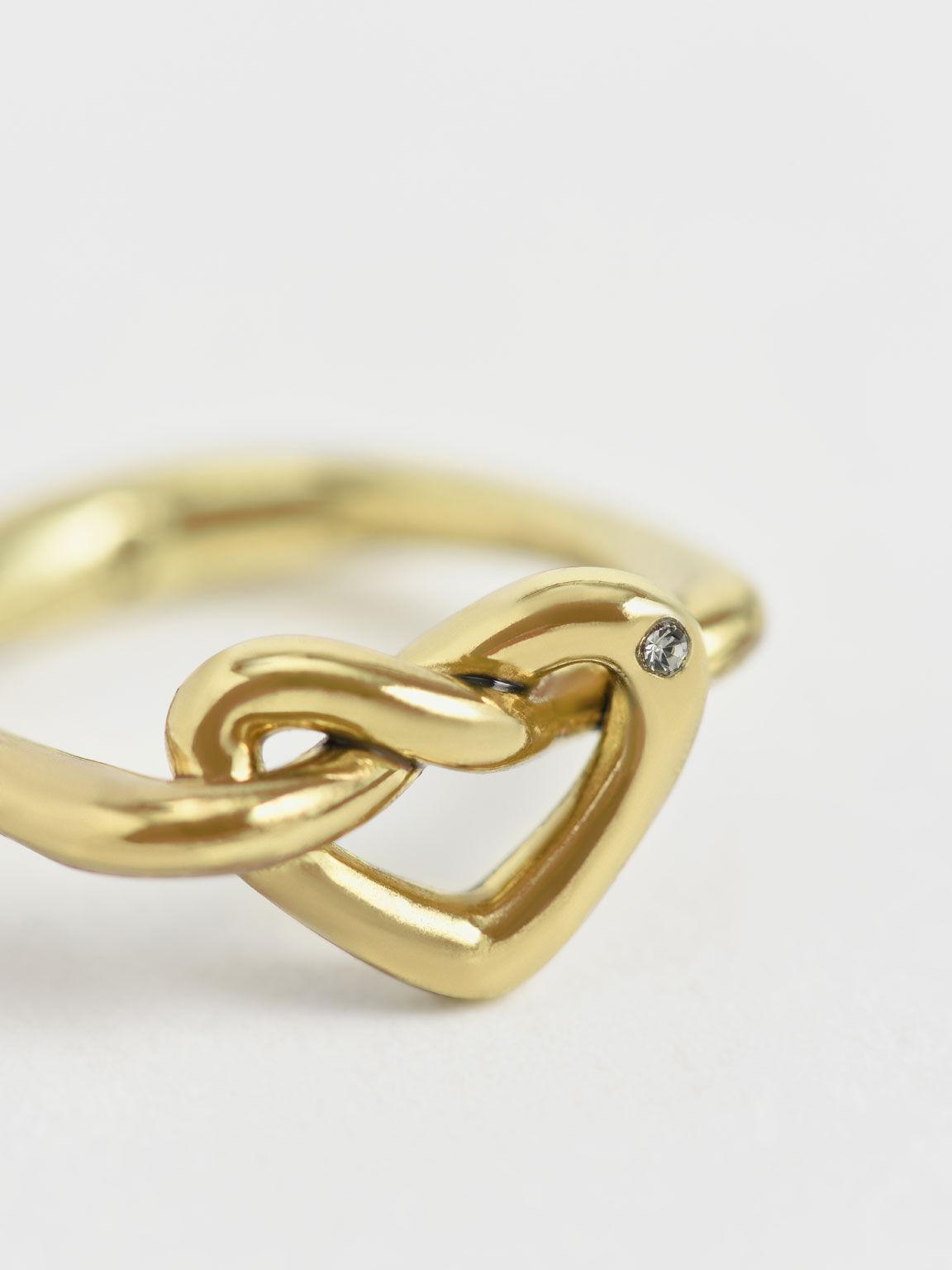 Swarovski® Crystal Embellished Heart Ring, Gold, hi-res