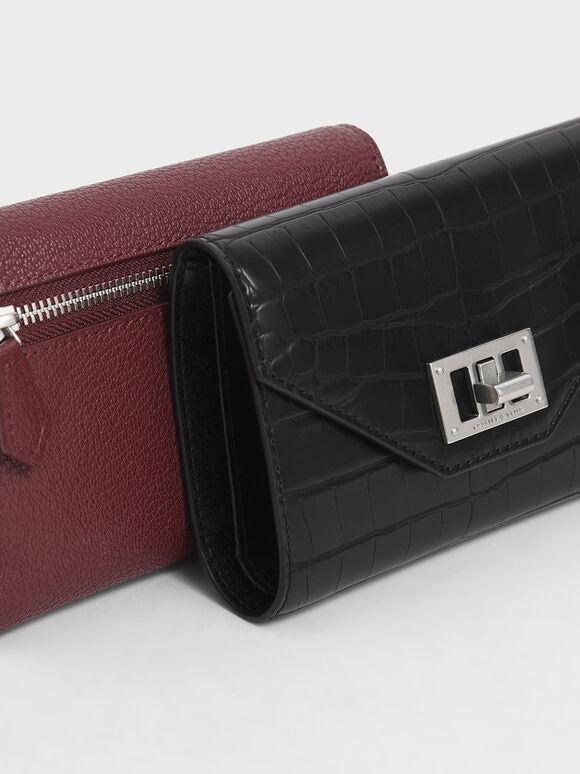 Mini Croc-Effect Short Envelope Wallet, Black Textured, hi-res