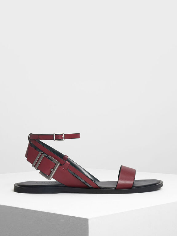 Buckle Detail Sandals, Red, hi-res