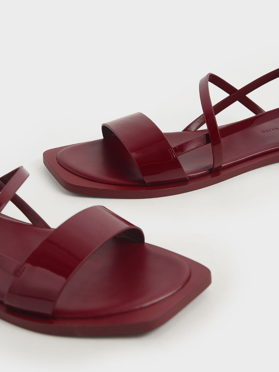 Patent Asymmetric Strap Slingback Sandals, Red, hi-res