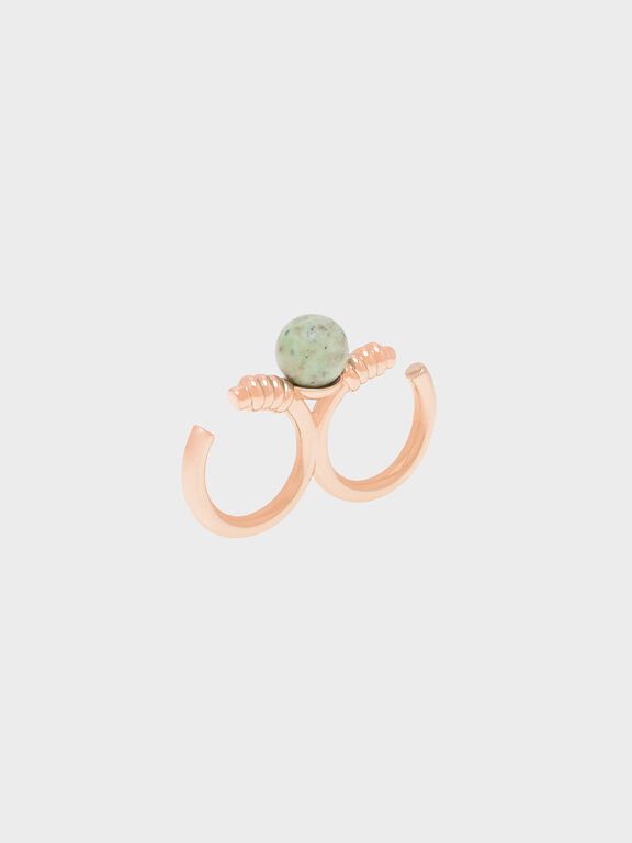 Turquoise Stone Double Ring, Rose Gold
