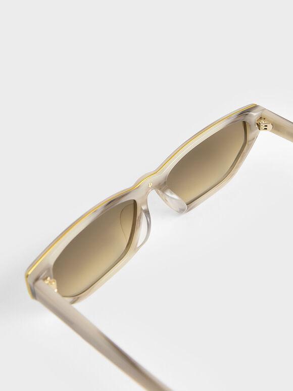 Acetate Cat-Eye Sunglasses, Cream, hi-res