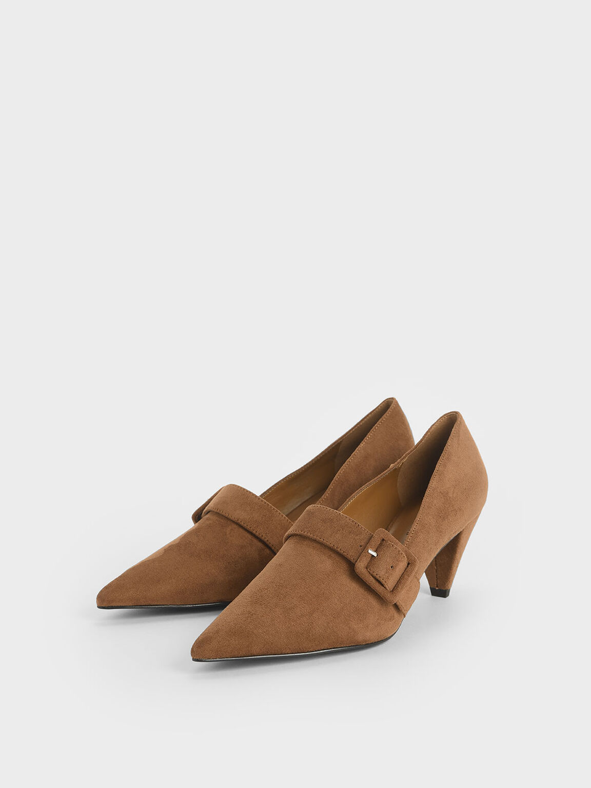 Textured Buckle Strap Cone Heel Pumps, Mustard, hi-res