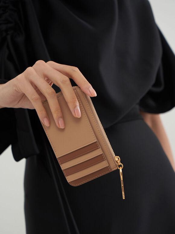 Zip Around Mini Wallet, Beige, hi-res