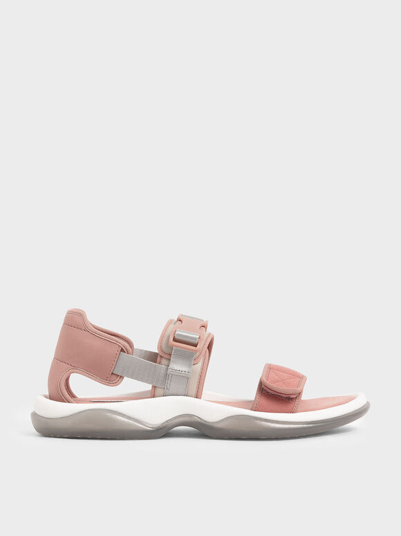 Lycra & Microsuede Chunky Sandals, Nude, hi-res