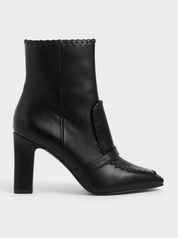Whipstitch Trim Calf Boots, Black, hi-res