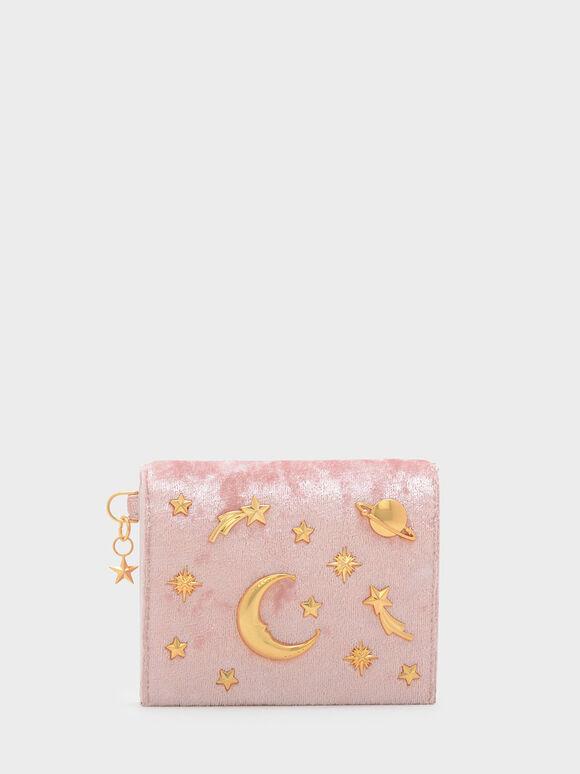 Snap Button Galaxy Embellished Velvet Card Holder, Pink, hi-res