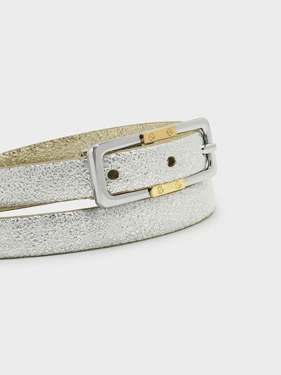 Buckle Detail Belt, Gold