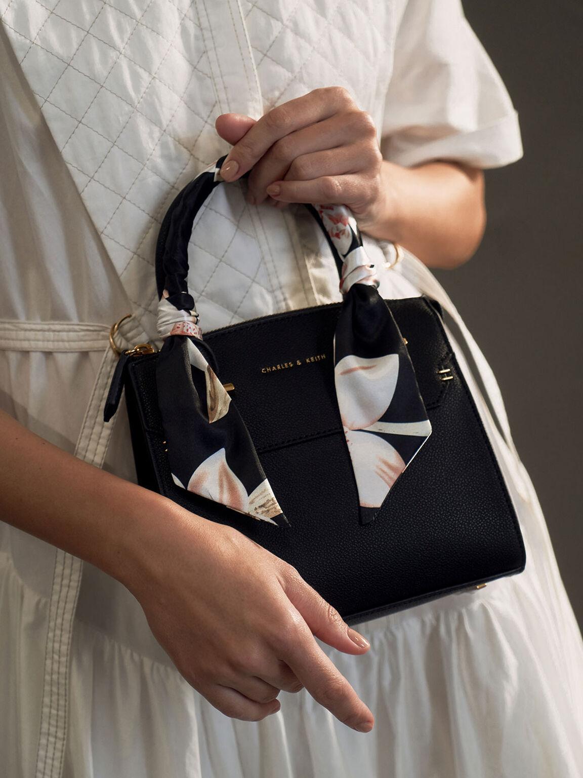Scarf-Wrapped Top Handle Bag, Black, hi-res