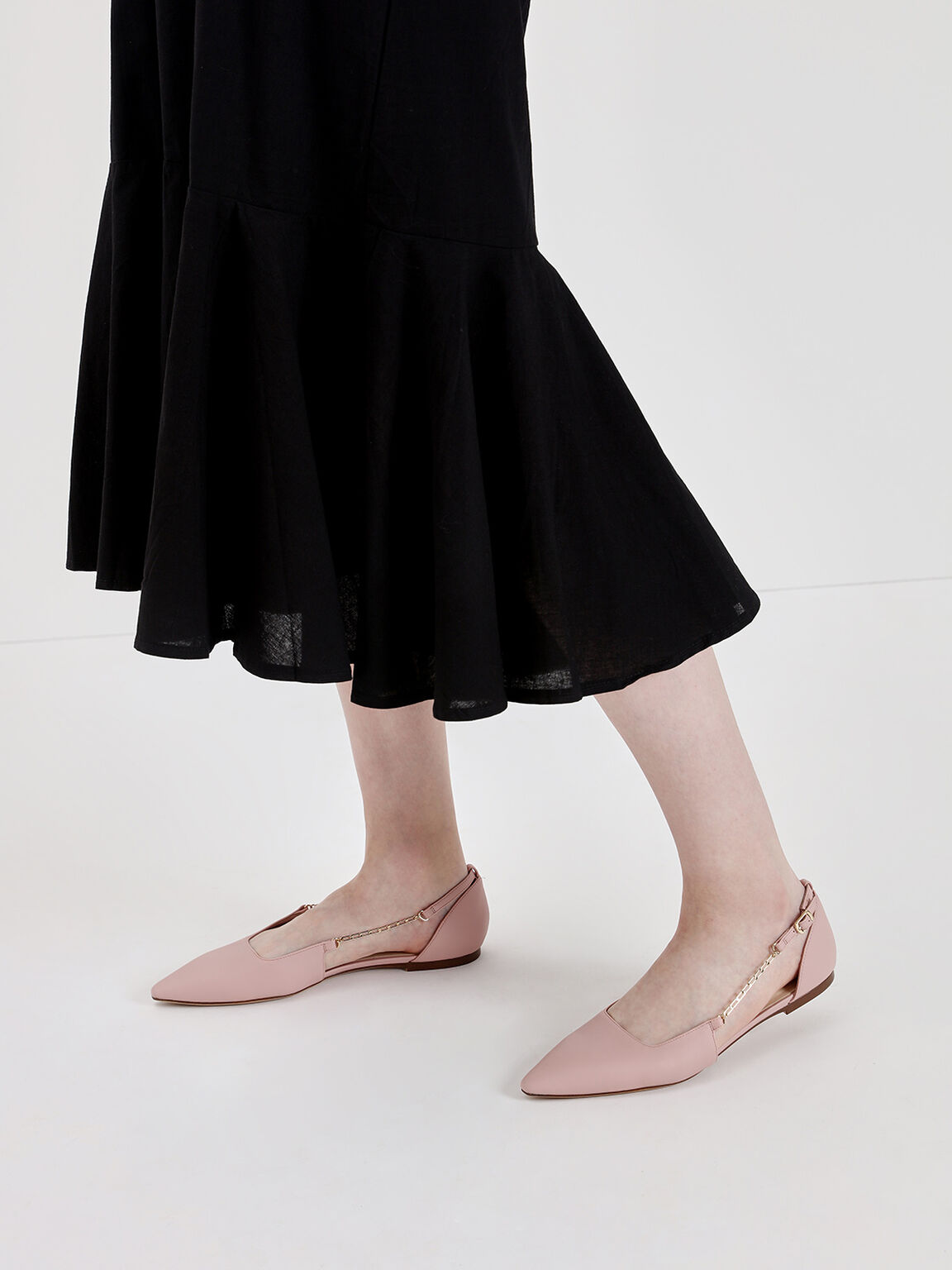 Chain Strap Ballerina Flats, Nude, hi-res