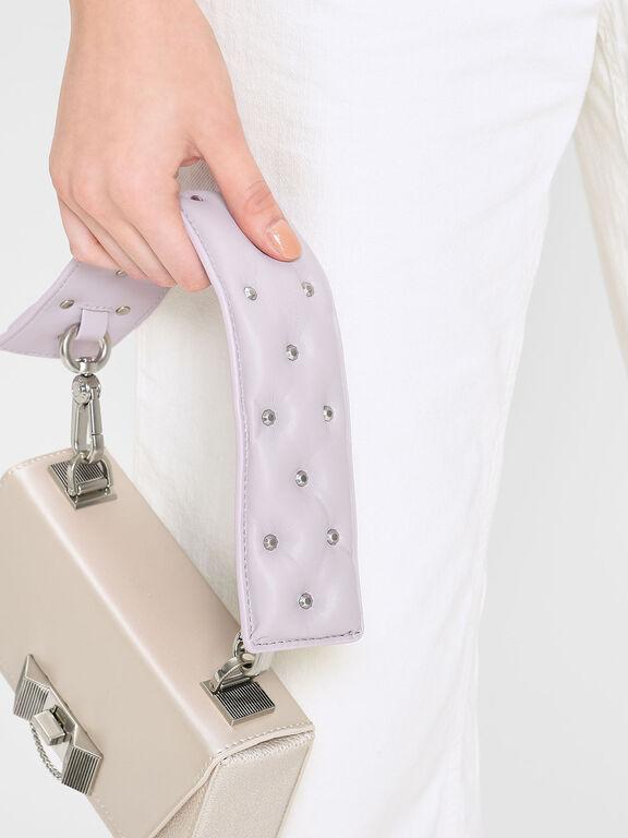 Embellished Wide Mini Strap, Lilac