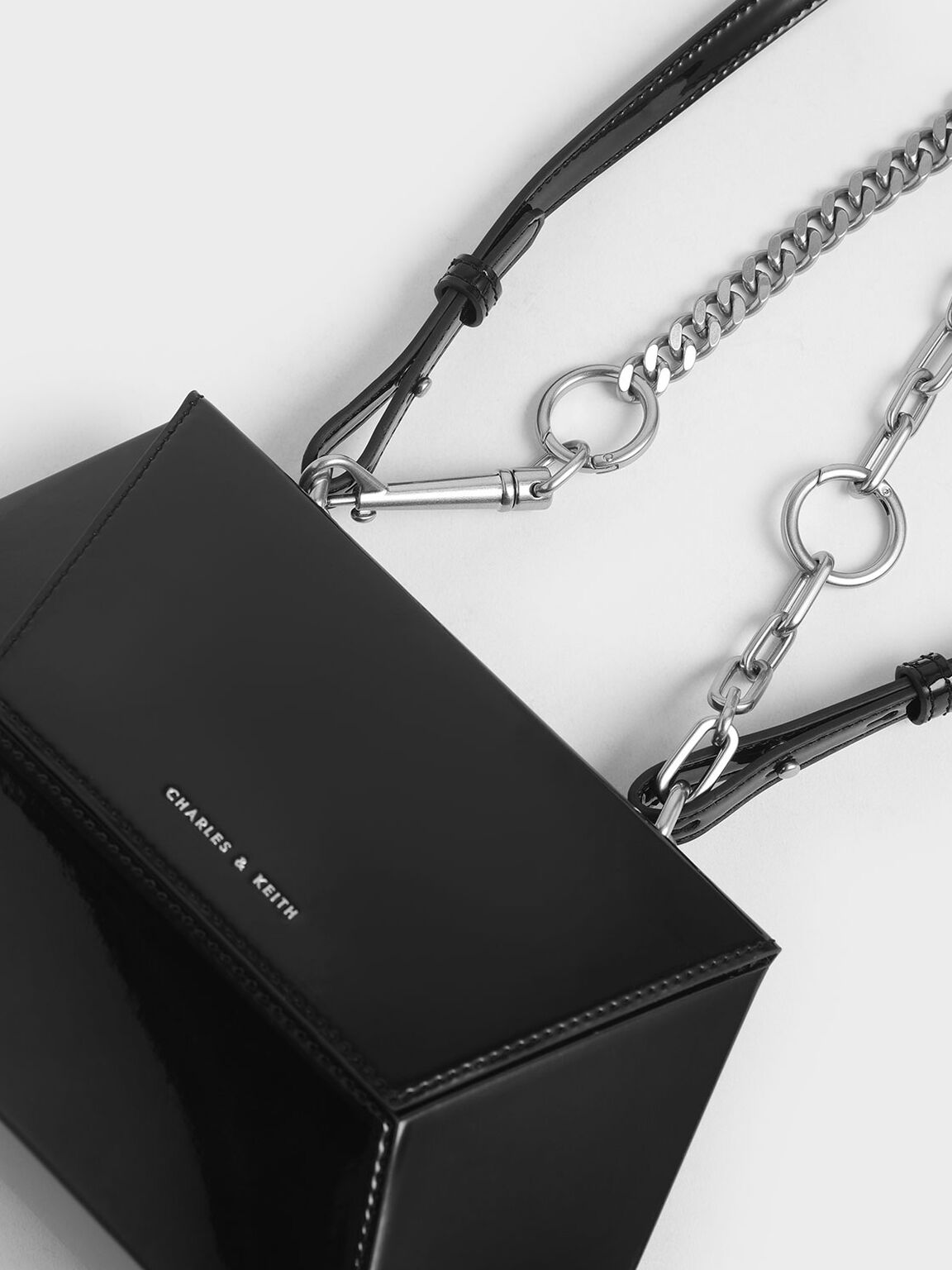 Thin Chain Handle Patent Hexagon Crossbody Bag, Black, hi-res