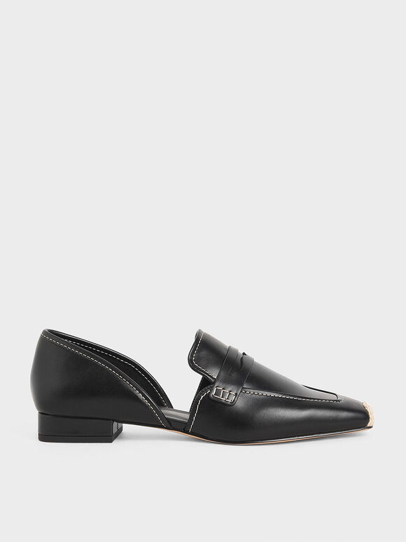 Espadrille Toe Cap Penny Loafers, Black, hi-res