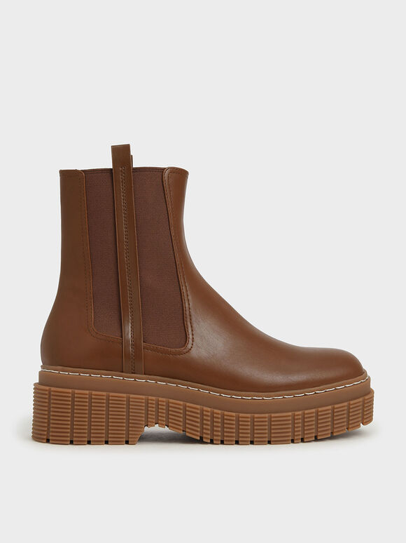 Stitch Trim Platform Chelsea Boots, Brown, hi-res
