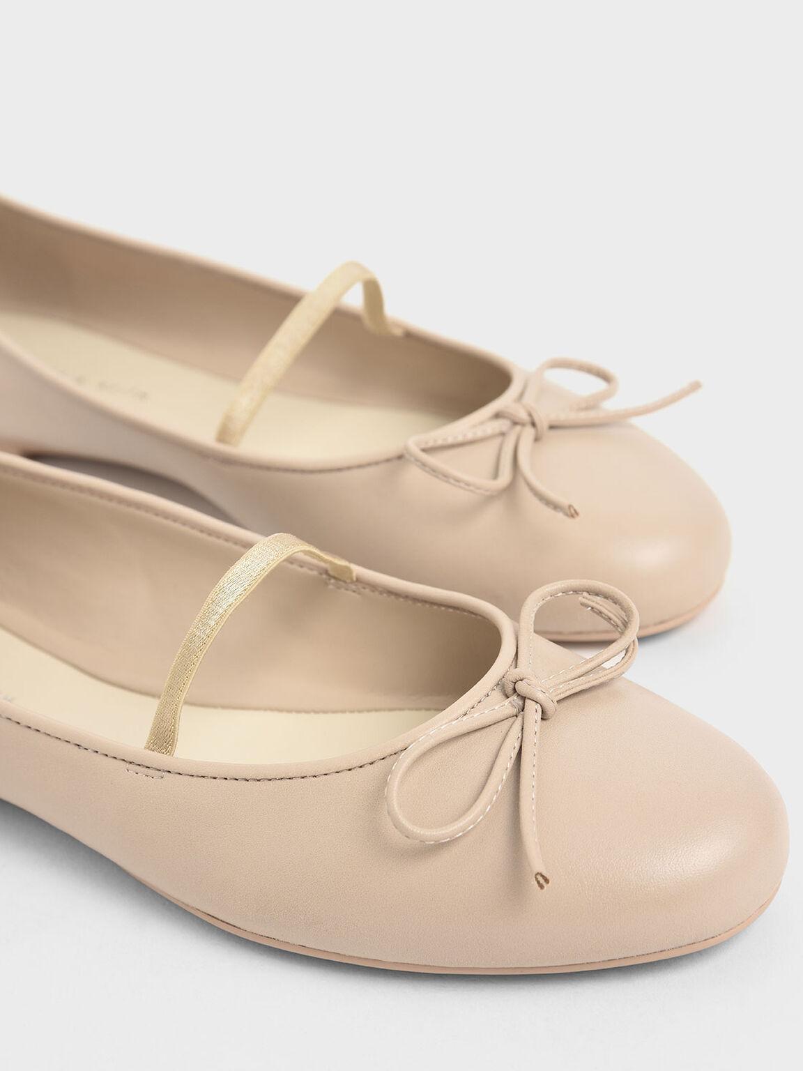 Ribbon Tie Mary Jane Ballerina Flats, Beige, hi-res