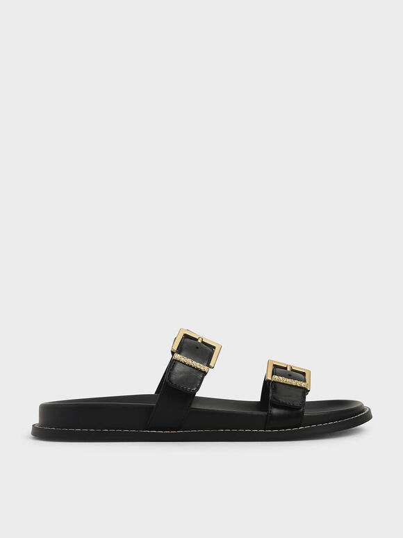 Buckle Double Strap Flats, Black, hi-res