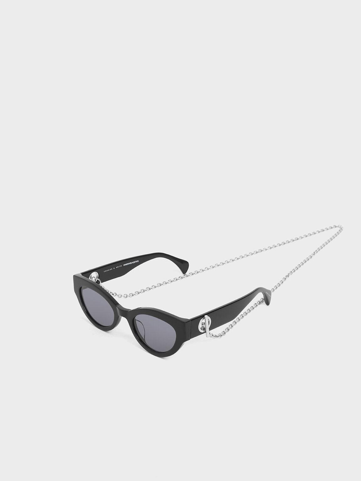 金屬鍊條墨鏡, 黑色, hi-res