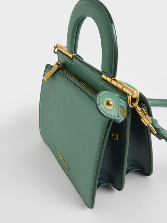 Top Handle Envelope Bag, Green, hi-res