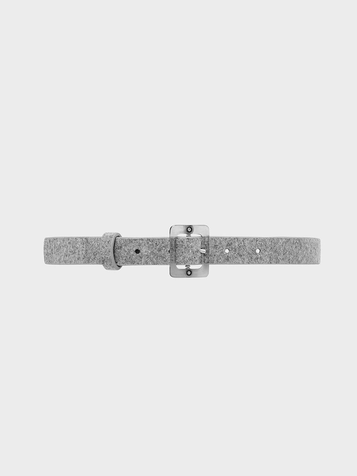 Felt Oversized Acrylic Buckle Belt, Grey, hi-res
